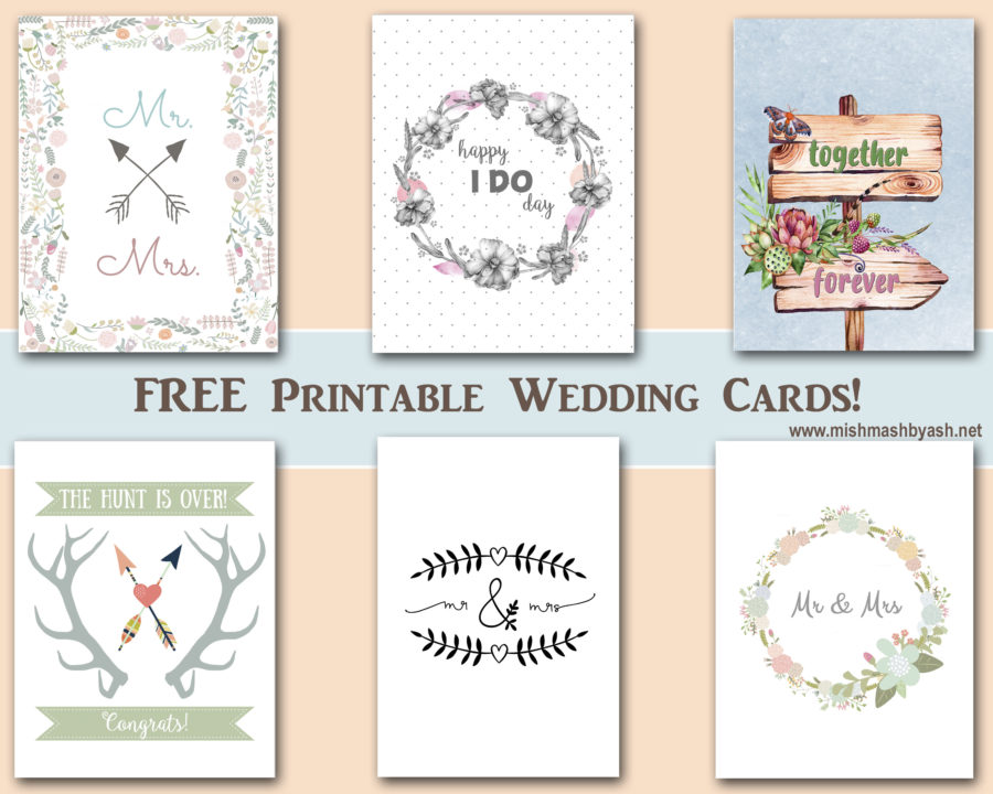 graphic about Free Printable Wedding Cards referred to as Cost-free Printable Wedding ceremony Playing cards - MishMash through Ash image style and design