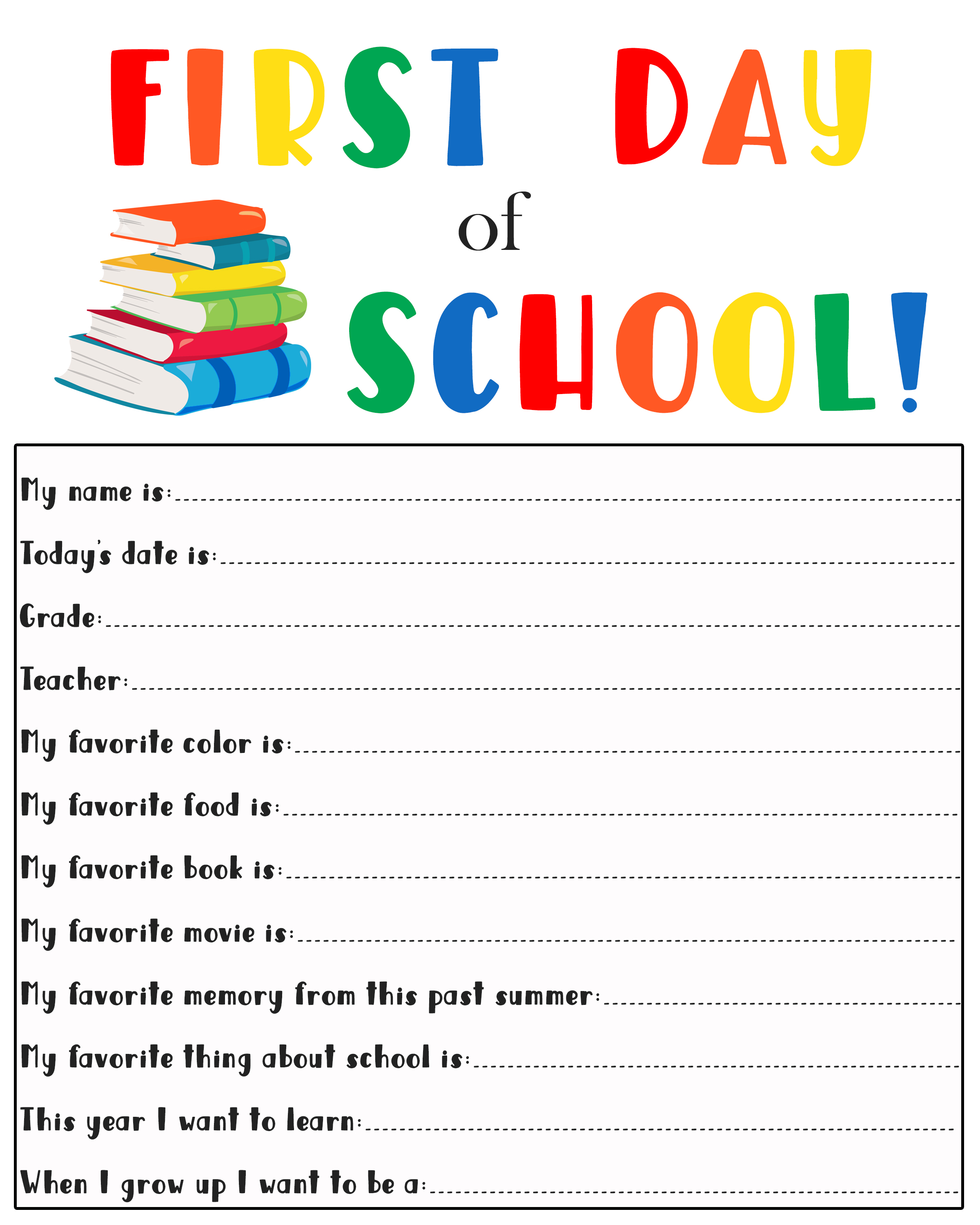 picture regarding First Day of School Printable named 1st Working day of College or university Printable - MishMash via Ash picture design and style